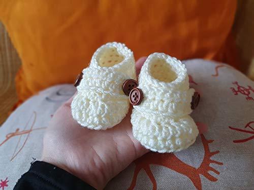 Scarpette uncinetto scarpine Neonato prima nascita primo cambio baby lana 0-3 mesi Bimbo Bambino Bianco panna