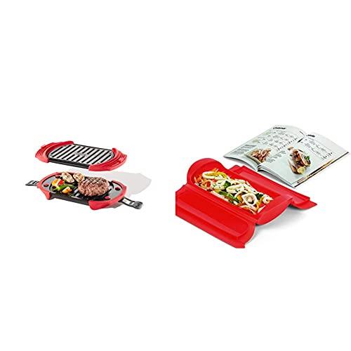Lékué Microwave Grill, Red Microondas, Acero, Rojo Y Negro, 25.2 X 14.8 Cm + Kit Estuche De Vapor 1,2 Personas + Libro De Recetas, 650 Ml, Silicona