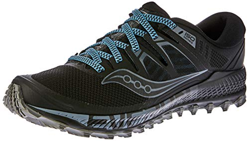 Saucony Men's Peregrine ISO Trail Running Shoe, Black/Grey, 12.5 M US