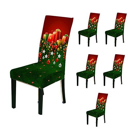 Juego de 6 fundas para sillas navideñas, para sillas de comedor, sillas, fundas para sillas de comedor, fundas para sillas de Navidad,...