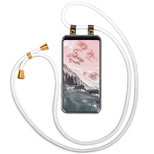 Moex - Cadena para teléfono móvil compatible con Xiaomi Mi Mix 2S - Funda de silicona con banda - Funda para móvil - Funda transparente con cordón - Funda con cordón - intercambiable en blanco