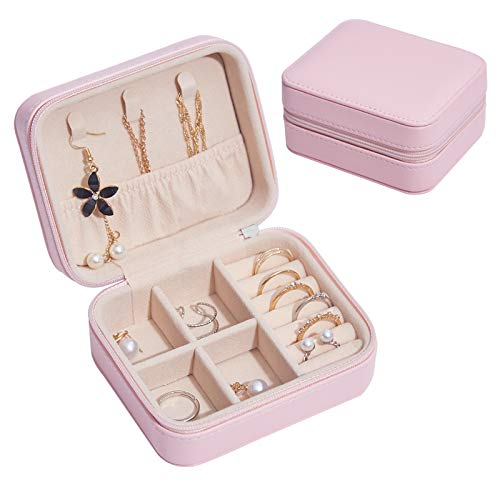 Small Faux Leather Travel Jewelry Box Organizer Display Storage Case for Rings Earrings Necklace (Pink)