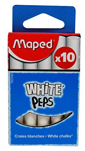 Maped M593500–Lot de 10 craies rondes et blanches