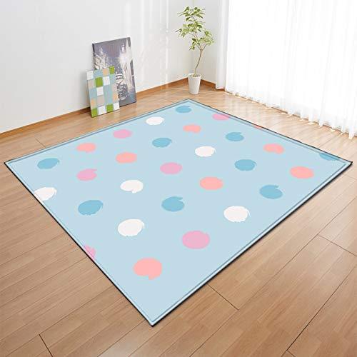 Gruesa alfombra de terciopelo suave antideslizante alfombra inferior niño's Room Play Mat Nursery Floor Pad Cartoon Dots patrón runner alfombra para el dormitorio de la sala de estar,120 * 180cm