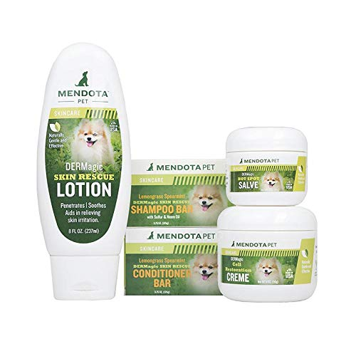 DERMagic Bar System Skin Condition Kit for Pets - Lemongrass Spearmint Shampoo, Conditioner, Skin Rescue Lotion, Hot Spot Salve, Cell Restoration Creme