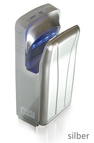 FAVORIT II High Speed Händetrockner - Mit LED Beleuchtung - DC Motor - IPx4, Farbe:Silber
