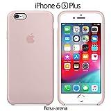 Funda Silicona para iPhone 6 Plus y 6s Plus Silicone Case, Logo Manzana, Textura Suave, Forro Microfibra (Rosa-Arena)