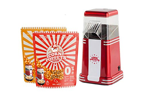 CORN POPPETS | Máquina de Palomitas de Maiz | Sin Aceite, Sin Humos + 2 Bolsas de Granos de Maiz Sabor Dulce y Salado