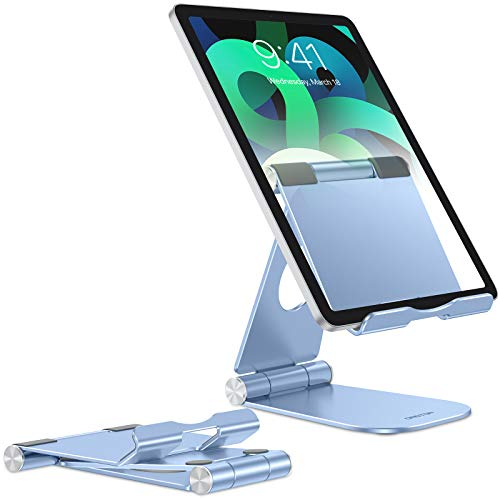 Fully Foldable Tablet Stand, OMOTON Tablet Stand Holder, Adjustable Aluminum Tablet Holder Stand Desk, Accessories Suitable for New iPad(10.2), iPad Air/Pro/Mini, Samsung Tablets, and Phones, Blue