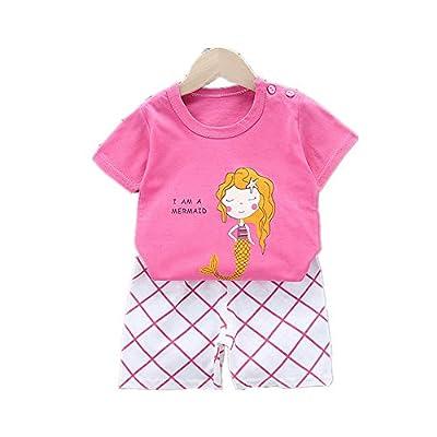 Fansu Pijamas Enteros de Manga Corta para Niños, Pijamas Dos Piezas Bebé Niño Niña Verano Algodón Juego de Pijama Camisetas y Pantalones Estampado Animal (Rose Red - Sirena,65 cm (2-4 años))