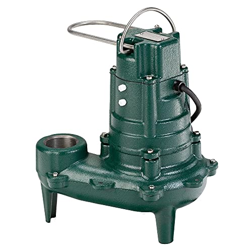Zoeller Waste-Mate 267-0002 Sewage Pump, 1/2 HP Non-Automatic – Heavy-Duty Submersible Sewage, Effluent or Dewatering Pump