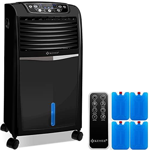 KESSER® 4in1 Mobile Klimaanlage | Fernbedienung | Klimagerät | Ventilator Klimaanlage | 8 L Wasser/Eis Tank | Timer | 3 Stufen | Ionisator Luftbefeuchter | Luftkühler | Schwarz