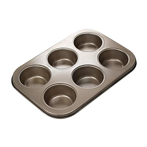 Milue 6 Holes Non Stick Cupcake Mold Cake Muffin Biscuit Pan Carbon Steel Kitchen Baking Tools DIY Bakeware – for Sugar Cookies, Shortbread, Candies, Biscuit, Cake