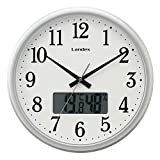 ランデックス(Landex) 掛け時計 シルバー 約30cm neoステップス 電波 カレンダー表示 YW9160SV