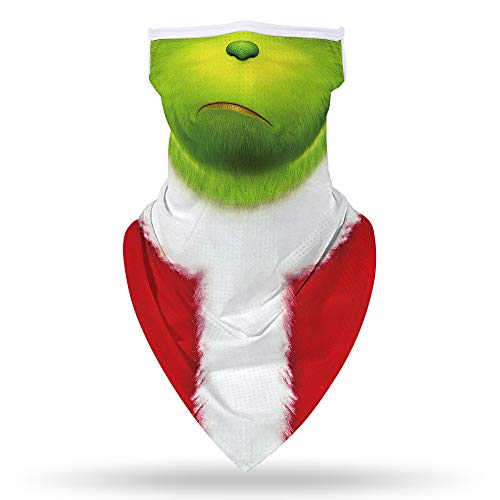 SRVOKOX Funny Grinch Neck Gaiter Face Mask Covering Bandanas for Men Women Summer UV Cooling Face Scarf Mask Cover Ear Loop Hole Triangle Facemask Headbands for Fishing Running Cycling Solid Green
