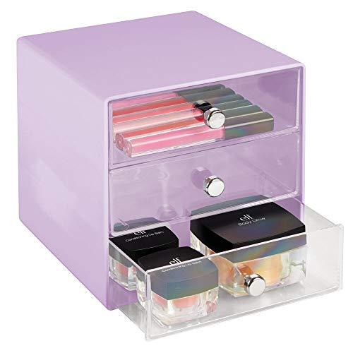 mDesign Comoda cassettiera in plastica Resistente – Funzionale Mini cassettiera con Tre Scomparti – Elegante Porta cancelleria con pomelli cromati – Lilla/Trasparente
