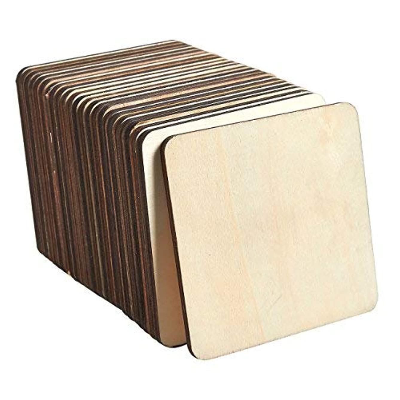 Unfinished Wood Pieces - 36-Pack Wooden Squares Cutout Tiles, Natural Rustic Craft Wood for Home Decoration, DIY Supplies, 4 x 4 inches