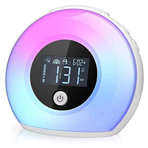 Despertador Despertador Ligero, Luz De La Noche para Los Niños, Reloj Digital con El Led Enciende para Dormitorios, Led Despertador con Altavoz Bluetooth, Reloj Ajustable Luz
