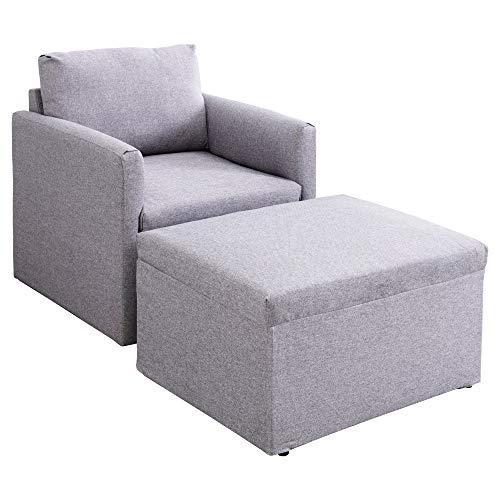 Bcamelys Sillón acolchado, sofá individual, sillón relax Seat sillón de tela incl. taburete, sillón con orejas, moderno y de alta calidad, talla única, color gris claro