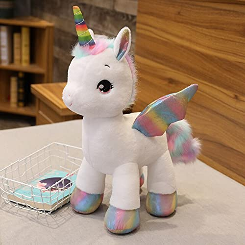 RAOMALV Ins Hot Soft Cute Unicorn Dream Rainbow Peluche de Juguete Caballo Rosa Dulce niña decoración del hogar Almohada para Dormir Regalo para niños About 45cm Blanco