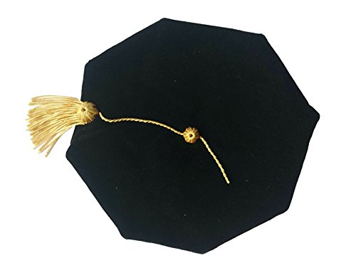 Grad Days Doctoral Graduation Tam Unisex Black Velvet 8-Sided with Gold Bullion Tassel Satin Silk Band