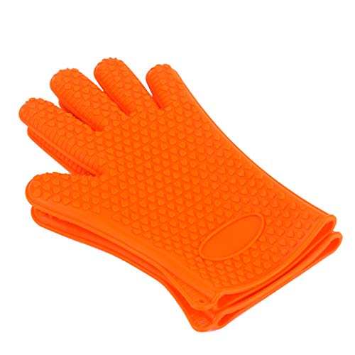 Hot Oven Gloves, Insulated Silicone Oven Mitts BBQ Grill Gloves Kitchen Baking Best Versatile Heat Resistant Grill Gloves, Full Finger Waterproof,Orange