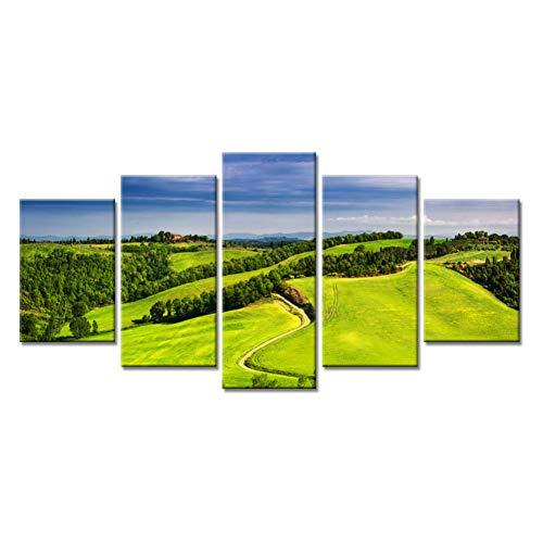 HSDVJZC Moderne woningkunst, 100 x 55 cm, met HD bedrukte afbeelding, 5 stuks, golfbal, groen, mount, landscape, canvas foto's