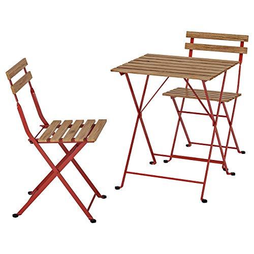 IKEA (イケア) TARNO テルノー テーブル&チェア2脚 屋外用 レッド, ライトブラウンステイン 493.124.15