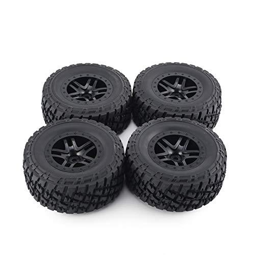 QiKun-Home 4pcs AUSTAR 110mm Llanta de Goma Juego de Ruedas de neumáticos Kit de Piezas de Repuesto Accesorios para Traxxas Slash 4X4 RC4WD HPI HSP Modelo de Coche sobre orugas Negro