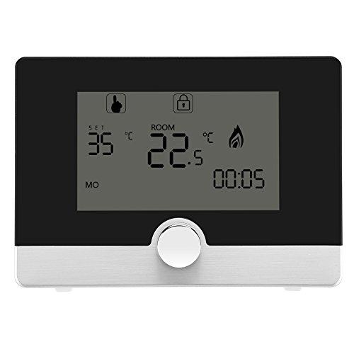 Fdit Termostato Digitale programmabile per termostato per Sistema di Riscaldamento a Caldaia a Parete(Black)