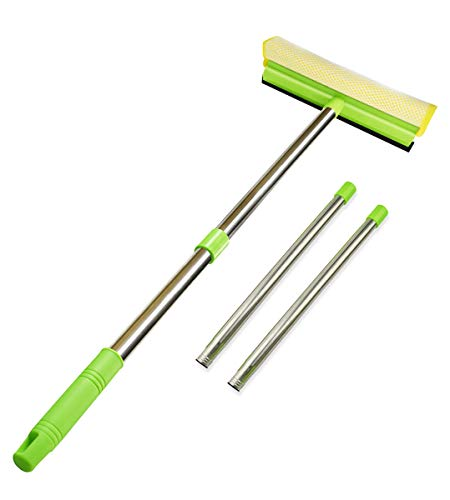 ITTAHO Multi-Use Window Squeegee, 2 in 1 Squeegee Window Cleaner with Long Extension Pole, Sponge Car Window Squeegee with 58