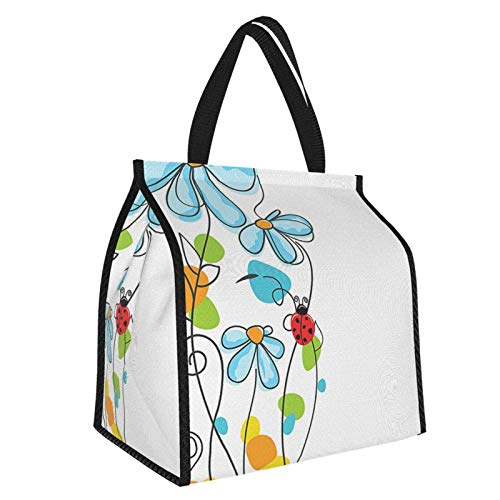 Y-shop Ladybugs Decorations Flowers And Oval Dome-Shaped Ladybugs Illustration Never Ending Love Story Luck Symbol Multi Picnic Freezer Bag,Bag Picnic Camping Beach Tour Bbq 30l
