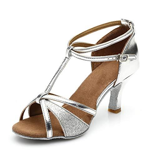 Damen Tanzschuhe Ballsaal Latin Schuhe, Silber - Silberfarbener Glitzer - Größe: 5.5 UK