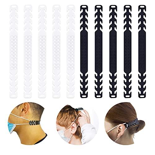 Maskenhalter, 10 Stück Maskenband, Maskenhalterung, verstellbare Maskenhalterung, Maskenhalter Silikon, Maskenband für Mundschutz, 5 Schwarz + 5 Transparent