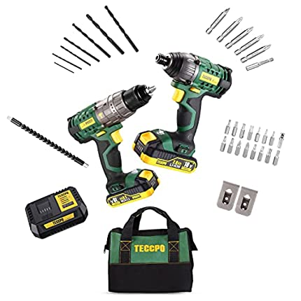 Taladro Atornillador, TECCPO Profesional 60Nm Taladro Batería, 180Nm Atornillador a Batería, 2 Baterías 2.0Ah, 30min Cargador Rápido - TDCK01P