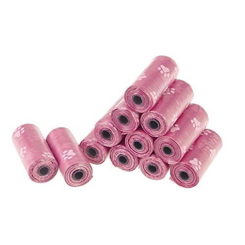 Ueetek - Sacchetti biodegradabili per cani, 12 rotoli (colore rosa)