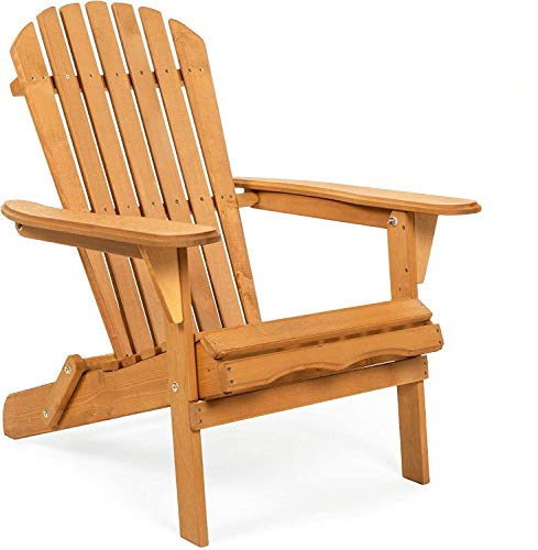 EASY Folding Wood Adirondack Chair Accent Furniture for Yard, Patio, Garden, Natural Finish - Brown
