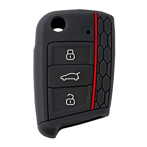 LOOIUEX Silicone Key Cover Funda de Silicona para Llave de Coche, Tapa abatible para Llave, Carcasa para Llave de Control Remoto, Funda para Llave de Coche para Volkswagen Golf 7
