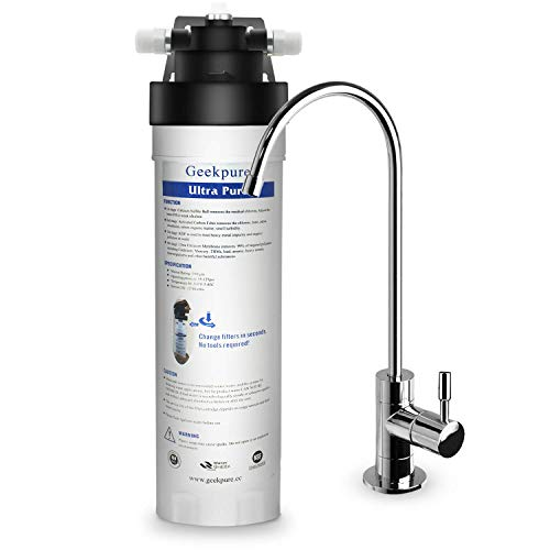 Geekpure 4-Stage Ultra Pure High Capacity Direct Connect Under Counter Drinking Water Filtration System -0.01 Micron