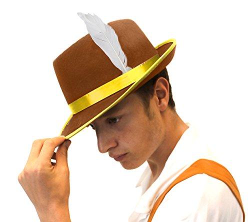 I LOVE FANCY DRESS LTD Un Chapeau Bavarois Marron en Feutre à Bande Jaune avec Une Plume Blanche pour Homme. Ideal pour Les enterrements de Vie de garçon.