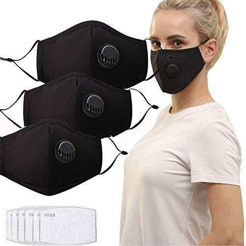 QILU Filtered Face Mask - Face Masks for Glasses Wearers - Face Masks Washable with Filter - Mesh Mask Breathable - Cotton Masks for Coronɑvịrus Protection Washable