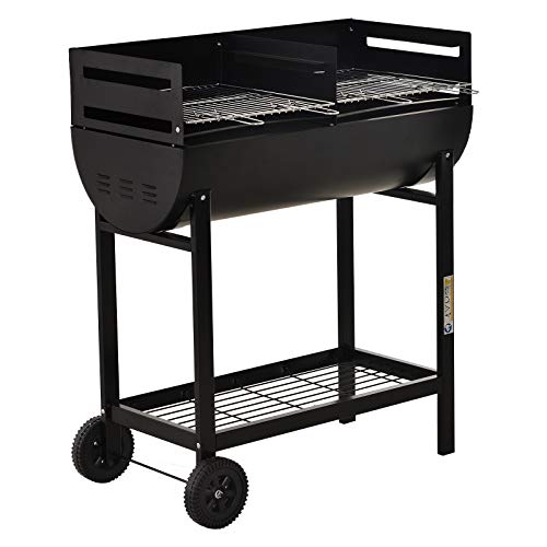 41zEeAyAPfL. SS500  - Outsunny Trolley Charcoal BBQ Barbecue Grill Cooker Patio Outdoor Garden Heating Heat Smoker with Wheels, Black 90 x 45 x 96cm