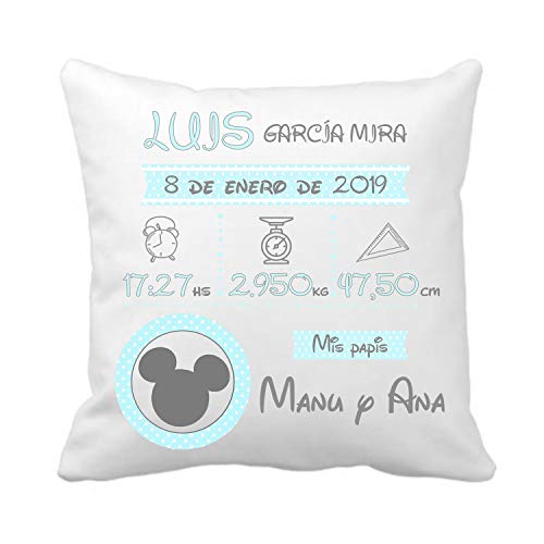 Kembilove Cojín Personalizado Natalicio para Bebes Minnie – Cojín Natalicio...