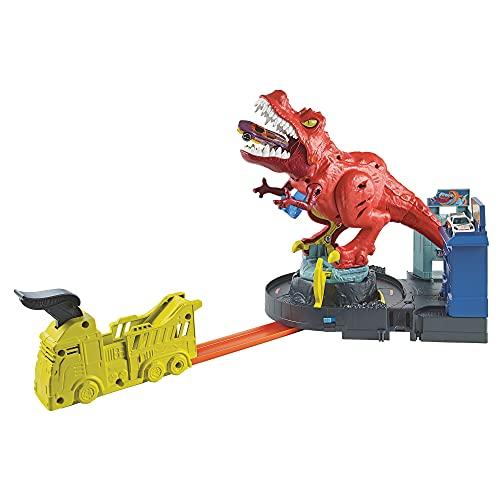 Hot Wheels GWT32 - HW City T-Rex Attacke Dinosaurier Trackset Spielset mit Auto, Spielzeug ab 5 Jahren, Abweichungen in Verpackung vorbehalten