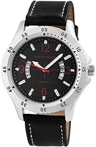 Spirit of Marine – Reloj de Pulsera analógico para Hombre, Color Antracita, Negro y Rojo, Fecha, Metal, Piel sintética, Mecanismo de Cuarzo
