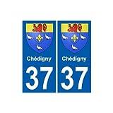 37 Chédigny blason autocollant plaque stickers ville - Angles : droits