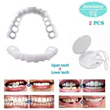 ZzWwYy Dientes cosméticos Dientes Prótesis Dental Prótesis Dental Provisional Sonrisa Carillas cómodas Flex Blanqueamiento Dental 2 PCS Set- A