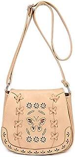 حقيبة كتف انيقة لون بيج للسيدات حقيبة طويلة تمر بالجسم بتصميم فراشة مفرغة حقيبة يد للسيدات بطراز صيفي