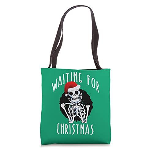 WAITING FOR CHRISTMAS Skeleton Funny Santa Hat Xmas Meme Tote Bag