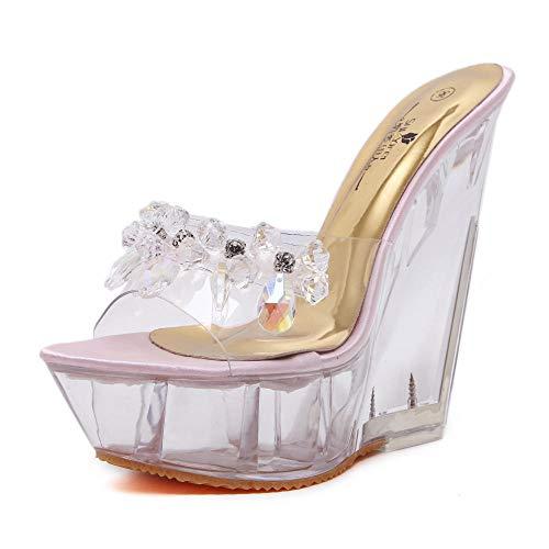 Zapatos de tacón Alto para Mujer, Zapatillas de Cristal, cuña de Cristal y Cristal, Verano Femenino, Sandalias de Arrastre de Palabra de tacón Alto sexys y Gruesas @ Rosa_38
